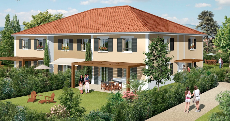 bâtisse composée de 6 appartements en duplex
